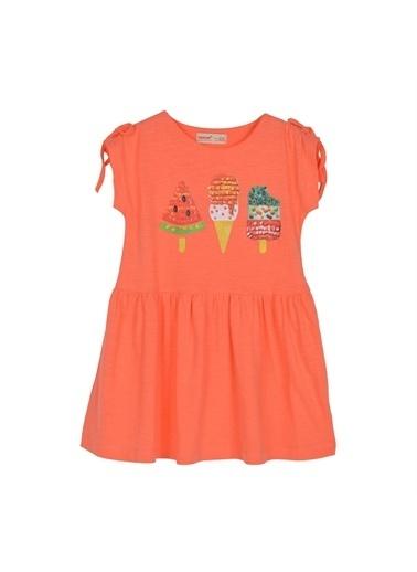 Silversun Kids Kız Çocuk Baskılı Kolları Ip Büzgülü Etekleri Fırfırlı Örme Elbise Ek 216181 Oranj